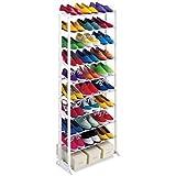 Estantería para almacenamiento de zapatos, 30pares, 10niveles, plegable, apilable, zapatero, soporte de almacenamiento, organizador, soporte