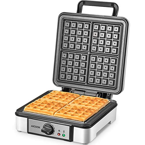 Belgian Waffle Maker Aicook 4Slice Easy to Clean 1200W Waffle Iron with EvenHeat Temperature Control Electric Waffle Machine with Nonscalding Phenolic Plastic Housing Easy to Use and Store