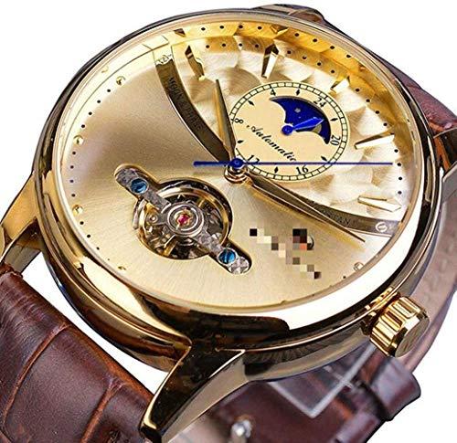 CMXUHUI De moda y elegante, aspecto exquisito, un g de fase lunar automático reloj de los hombres reales de oro esqueleto mecánico masculino reloj de pulsera marrón de cuero genuino 24,5 cm