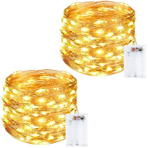 Litogo Luci LED Batteria [2 Pezzi], [Timer] Catena Luminosa 10m 100 LED Filo Rame Ghirlanda Luminosa Lucine LED Decorative per Camere da Letto Giardino Casa Feste Natale Matrimonio (Bianco Caldo)