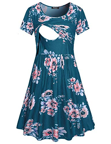 Quinee Boho Maternity Dress, Women Floral Round Neck Short Sleeve Formal Nursing Dresses for Breastfeeding Mothers Light Knit Knee Length Flyaway Trapeze Pregnancy Dresses Blue Floral M