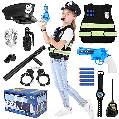 Kids Police Dress up Set Police Officer Role Play Costume Toys Set for Kids Ages 3-7 Years Old Includes Police Vest, Hat and Accessories for Boys and Girls Pretend Play