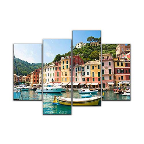 Sudoiseau Wall Art Painting Beautiful Portofino Liguria, Italy Harbor famouss and Pictures Pictures Canvas Prints Poster Oil Paintings Landscape Paint Modern Home Decor Artwork Gift, 4 Panels