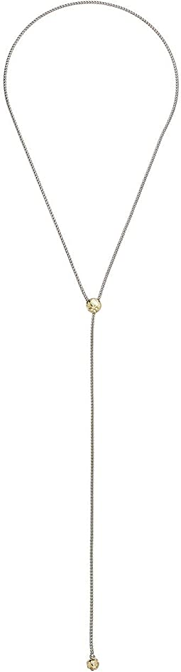 Classic Chain Hammered Y-Shaped Slider Necklace