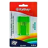 Kathay 86614499. Sacapuntas Metálico con Depósito, Doble Entrada: Normal y Maxi, Hoja de Acero, Color Aleatorio: Verde, Azul, Amarillo, Rosa