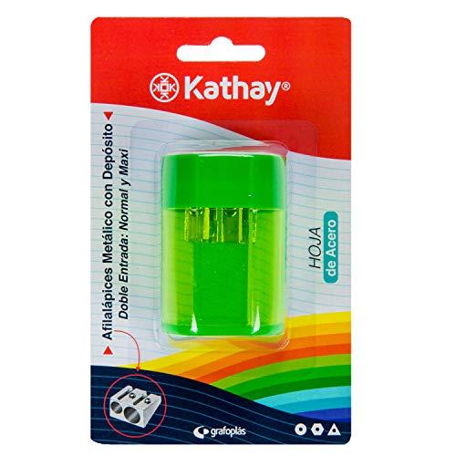 Kathay 86614499. Sacapuntas Metálico con Depósito, Doble Entrada: Normal y Maxi, Hoja de Acero, Color Aleatorio: Verde,...