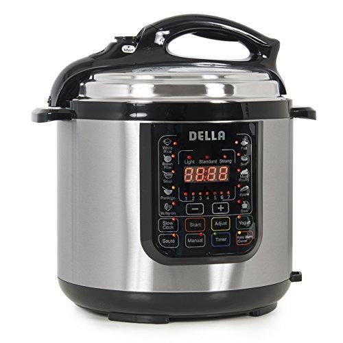 DELLA 048-GM-48258 Multifunction Pressure Cooker, 6 quart, Silver
