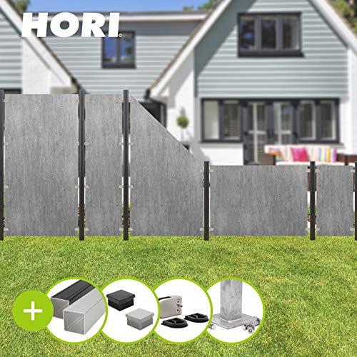 HORI® HPL Garten-Zaun granit-beige I Sichtschutzzaun Komplettset I 6x Standard + 7x Pfosten I zum Aufschrauben I Pfosten: schwarz