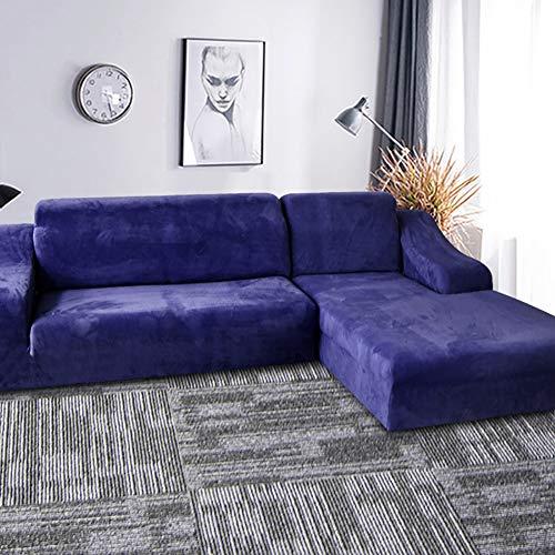 TIYKI Color Sólido Felpa Grueso Funda De Sofa,Super Stretch Funda para Sofá,L Forma Cubiertas De Couch para Seccional,Protector De Muebles para Perros Mascotas-Azul 2 Seater(1pic)