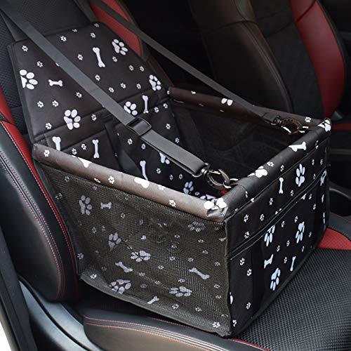 STARPIA Siège d'auto pour Chien, Porte-siège Pliant Imperméable pour Chien avec Ceinture de Sécurité et Sac de Rangement, Siège d'appoint de Voiture pour Chiens ou Chats (Os Noir)