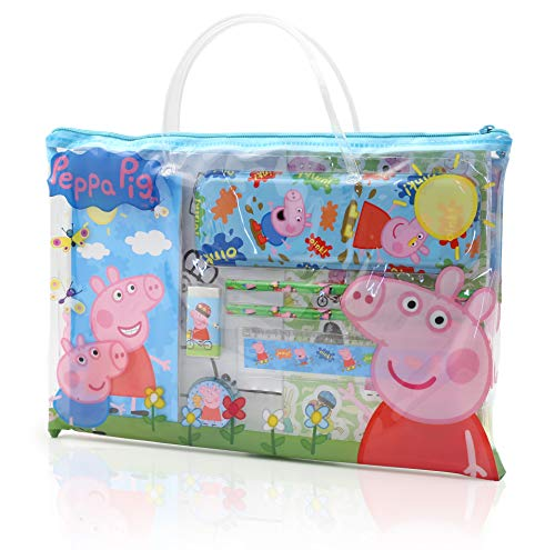 Peppa Pig Toys, Activity Travel Set Includes Carry Along Book Bag, Stickers, Mini Artist Pad And Colouring Sheets, Preschool Pencil Case Stationery Set, Gifts For 2 3 4 5 Year Old Girls, Boys