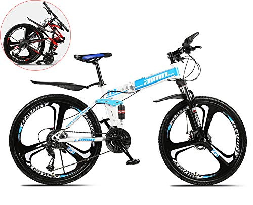MOOLUNS 26 Pulgadas Chico Bicicleta de Montaña,3 Cuchillas Una Rueda Acero de Alto Carbono Bicicleta Plegable,Unisexo,Doble Choque Velocidad Variable Bicicleta,Azul,26in (24 Speed)