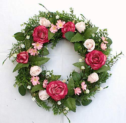 P.Shop Blütenkranz Blumenkranz Wandkranz Türkranz Rosen pink Ø 36