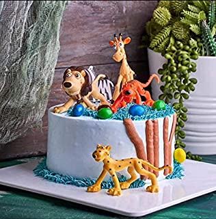 Set of 6 -Jungle Theme Party Supplies,Large Animal Cake Decoration Cake Topper Lion,Tiger,Elephants, Giraffes and Horses Toys Action Figure Playset, Zoo Theme Learning Educational Birthday Party Favor