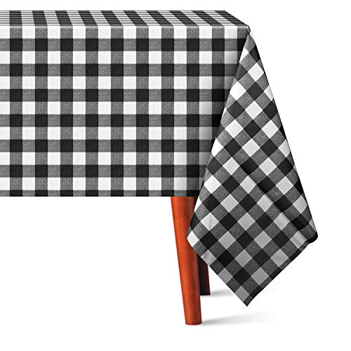HOUSE DAY PVC Table Cloth Water-Proof Oil-Proof Spill-Proof Rectangle Tablecloth Wipeable Table Cover for Outdoor and Indoor Use (54 x 78 Inch, Black)