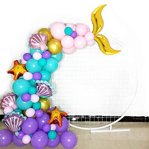 Joy Party Mermaid Party Balloons Mermaid Tail Garland 106 Count,Pink Purple Turquoise Latex Balloons with Starfish Shell Foil Balloon for Baby Shower Under the Sea Girl Birthday Party Supplies