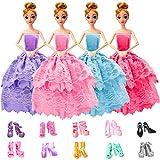 WENTS Accesorios para Ropa de muñecas Ropa y Zapatos para Muñeca Barbie 4 Piezas Moda Vestido de Novia Grande y 10 Pares de Zapatos para Regalo Niña de Cumpleaños Niñas