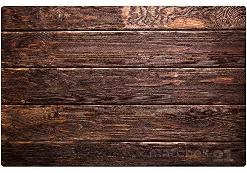 Matches21 houtlook bureauonderlegger tafelonderlegger motief houten planken/houten planken/donker hout 1 st. Kunststof 60 x 40 cm afwasbaar anti-slip coating