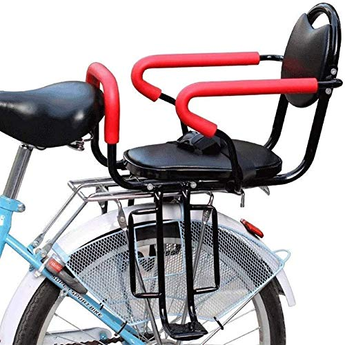 Bicycle Child Seat Rear Mount with Armrest Guard Bar and Pedal Cushion Saddle Back Rest Foot Pedals for Bike Safety Stable Kids Seat