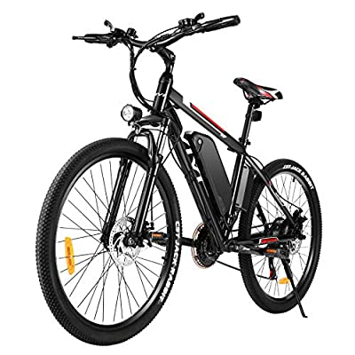 """VIVI Electric Bike 26"""" Electric Mountain Bike, 500W/350WEbike for Adults 20MPH Electric Bicycle/Electric Commuter Bike with Removable 12.5Ah/8Ah Lithium-Ion Battery, Shimano 21 Speed (500W Black)"""