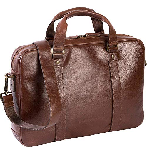 Boconi Becker Zip Leather 15' Laptop Briefcase, Business Computer Bag in Whiskey