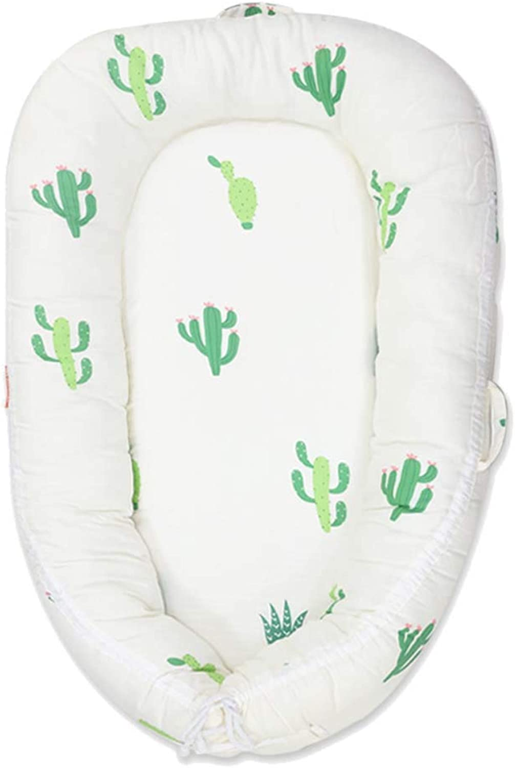 Baby Nest Bed - Sleeper and Lounger - Perfect for Napping,Tummy Time and Travel,Organic Cotton & Hypoallergenic - Suitable from 0-36Months,Cactus