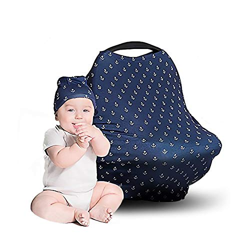 Car Seat Covers for Babies - Stretchy, Lightweight, and Extra Soft Nursing Cover - Multiuse - Covers Carseat, High Chairs, Shopping Carts - Bonus Infant Baby Beanie and Bag (Anchors on Blue)