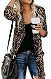 Shirt Cardigan for Women Printed Cardigan Leopard Coat Long Sleeve Open Front Cardigan Top w Pockets Brown