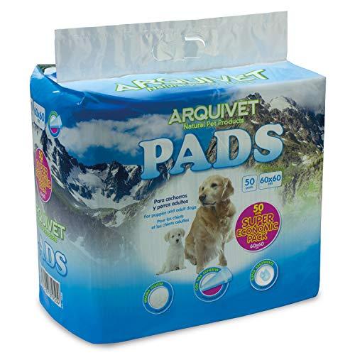 Arquivet Pads para Perros súper absorbentes - Empapadores higiénicos educativos para Perros - Empapadores Desechables - Alfombrilla higiénica para Perros - 50 uds. - 60 x 60 cm