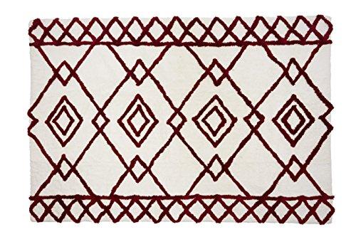 Aratextil. Tapis pour enfant 100% coton lavable en machine à laver Collection berbère Fez Burgundy 140 x 200 cm