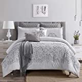 Sapphire Home Luxury 8 Piece King/California-King Comforter Set with Shams Cushions and Throw, Modern Light Gray Damask Pattern, Bed Cover Bed in a Bag, (21620, King/Cal-King)