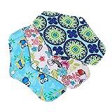 DOITOOL 3 almohadillas menstruales reutilizables de carbón postparto almohadillas sanitarias con alas lavables durante la noche, almohadillas de periodo para mujeres y mujeres, varios colores