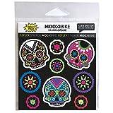 MOOXIBIKE reflektierende Sticker Día de Muertos, Sichtbarkeit erhöhen an Fahrrad, Roller, Helm und Schultasche durch reflektierende Designbeklebung