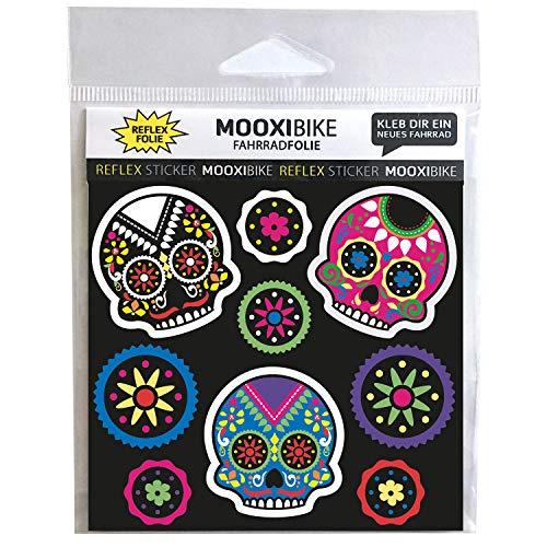 MOOXIBIKE I reflektierende Sticker Día de Muertos, Sichtbarkeit erhöhen an Fahrrad, Roller, Helm und Schultasche durch reflektierende Designbeklebung