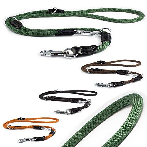 CarlCurt - Classic Line: 6 In 1 Multifunktionshundeleine Aus Strapazierfähigem Nylon, Mehrfach Verstellbar, Rund, 2,0m, Olive