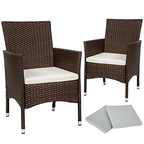SSITG Lot de 2 chaises de jardin en poly rotin Chaise Fauteuil à dossier haut Coussin + 2 taies