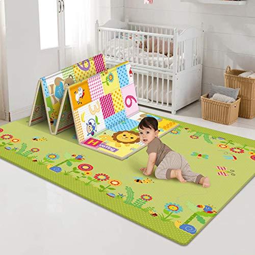 Alfombra de juego plegable para bebé, tapete para gatear, linda alfombra de bebé, alfombra de espuma para bebé, juego de piso, tapete para gatear y gatear de bebé,180 x 100 x 0,6 cm (02)