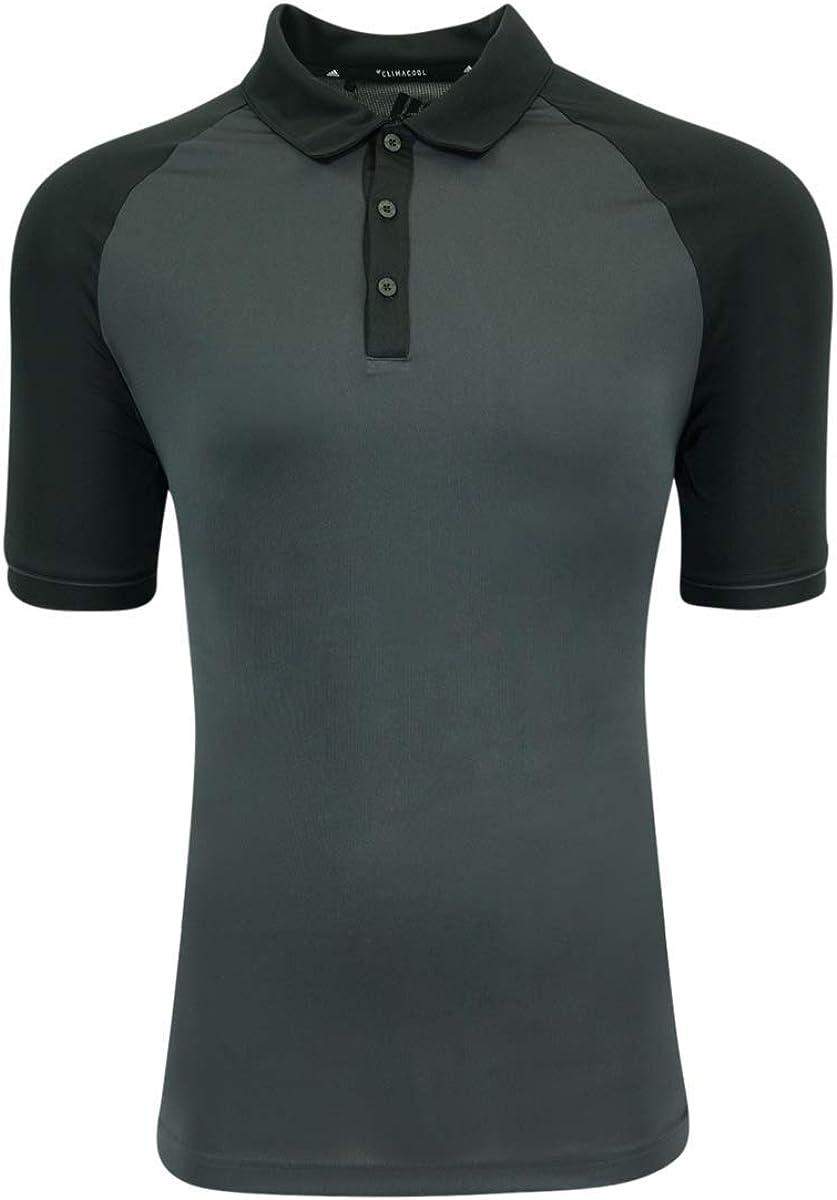 adidas Mens Climacool Jacquard Raglan Polo (A207) -Carbon/Bla -2XL