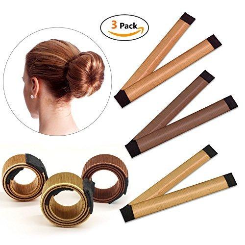 Snner Bun Lot de 3 accessoires de coiffure pour chignon et chignon pour femmes et filles Marron roux jaune/marron