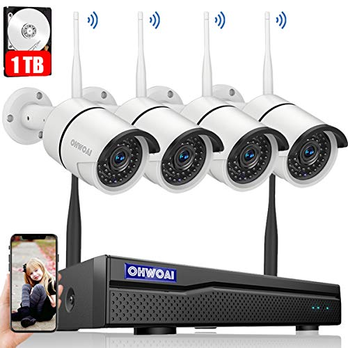【8CH Expandable】Security Camera System Wireless Outdoor, 8 Channel 1080P NVR With 1TB Hard Drive , 4Pcs 720P CCTV Cameras For Home,OHWOAI Surveillance Video security System,Outdoor Wireless IP Cameras