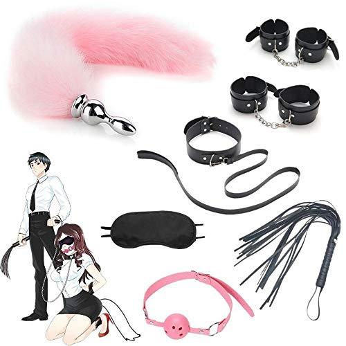 LKLKLKM 7Pcs Multi-Type Búndled Bīnding Plush Leather Erotic Suits Hāndcüffs Sèx Set for Couples Play Men Women Toys(Color : Pink&Black) Bed Entertainment Tools Suit for Couples Practice