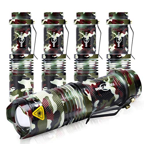 5 Pack Mini Flashlights LED Flashlight 300lm Adjustable Focus Zoomable Light (Army Green)