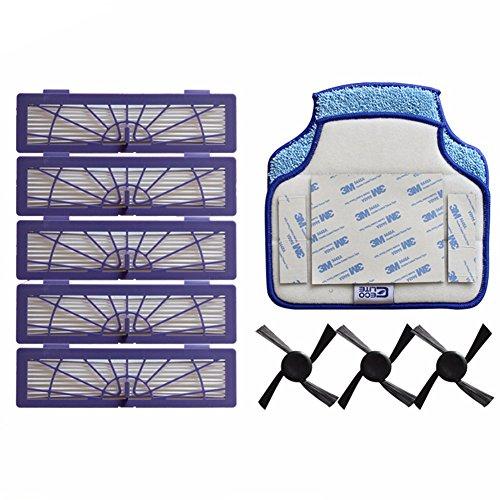 YTT 10pcs/lot 5 filtro HEPA + 3 cepillos laterales + 2 mopa