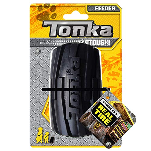 Tonka Mega Tread Treat Holder Dog Toy, Lightweight, Durable and Water Resistant, 4 Inches, for Medium/Large Breeds, Single Unit, Yellow/Black