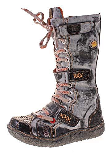 TMA Damen Leder Winter Comfort Stiefel Reptil Print Gefüttert Echt Leder Schuhe 7086 Schwarz Grau Gr. 37