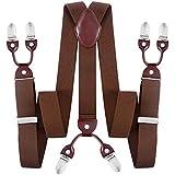 Men's Heavy Duty Suspender Y- Back Heavy Dress Brace with 6 Metal Clips for Jeans Pants Trousers