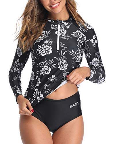 Daci Women White Floral Rash Guard Long Sleeve Zipper Bathing Suit with Built in Bra Swimsuit UPF 50 M