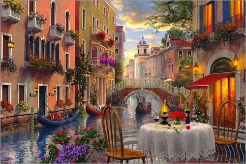 Posterlounge Acrylglasbild 100 x 70 cm: Abendessen in Venedig von Dominic Davison/MGL Licensing - Wandbild, Acryl Glasbild, Druck auf Acryl Glas Bild