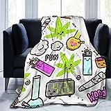 Hlcenng Personalized Custom Throw Blanket,Green Weed Marijuana Kawaii Cartoon Pattern White Cannabis Leaf Smoke Bong Pot,Soft Comfortable Plush Blanket for Sofa Bedroom Travel Fluffy Blanket 40'X50'