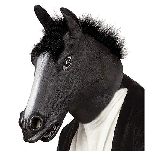 NET TOYS Originelle Pferdemaske aus Latex mit Mähne - Schwarz - Tierische Unisex-Gesichtsmaske Hengst Tiermaske Gaul - EIN Highlight für Fasching & Fastnacht